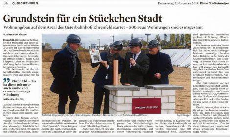 Grundsteinlegung Fünf/Freunde Ehrenveedel Köln